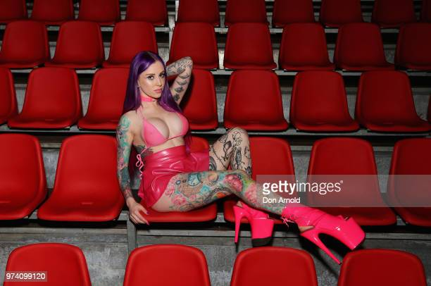 Stripper Kelly Panther poses at SEXPO Sydney 2018 at the International Convention Centre on June 14 2018 in Sydney Australia