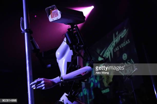 A 'stripper robot' performs during a debut of the first robotic erotic dancers in the world at Sapphire Las Vegas Gentlemen's Club on the eve of CES...