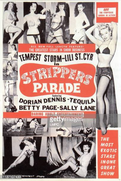 Strippers Parade poster Tempest Storm Dorian Dennis Bettie Page Sally Lane Lili St Cyr circa mid 1950s