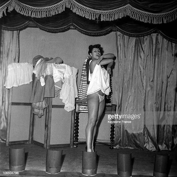 StripTease Performance By The Dancer Fortunia At The Crazy Horse Cabaret In Paris In December 1951
