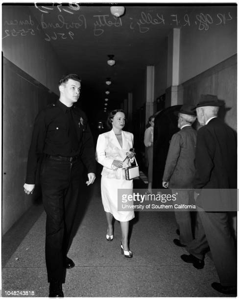 Stripteaser 'Ball of Fire' tried with manager for putting on lewd performance 5 May 1952 Betty RowlandMaurice Rosen her managerPolice Officer RF...
