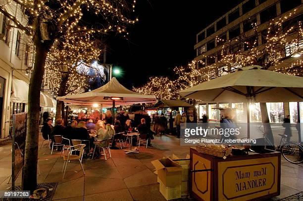 Stroget Ostergade shopping area at Christmas, Copenhagen, Denmark, Scandinavia, Europe