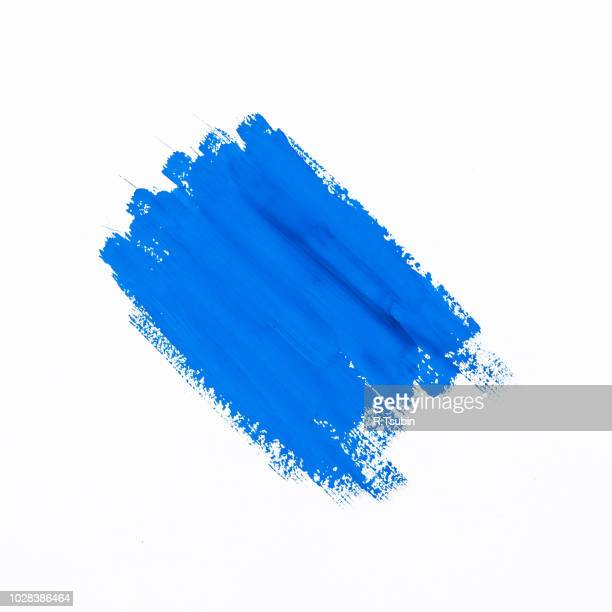 stroke blue paint brush color water watercolor isolated on white background - vierkant compositie stockfoto's en -beelden