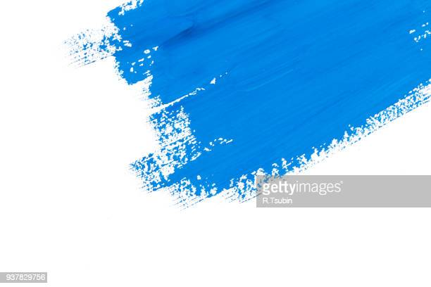 stroke blue paint brush - paint stock pictures, royalty-free photos & images