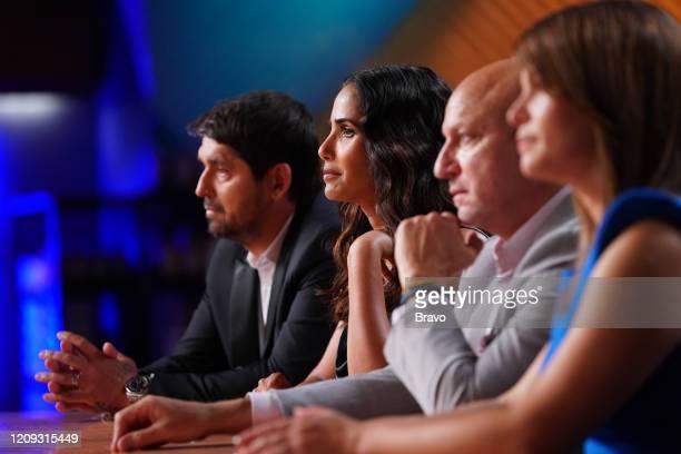 """Strokes of Genius"""" Episode 1703 -- Pictured: Ludo Lefebvre, Padma Lakshmi, Tom Colicchio, Gail Simmons --"""