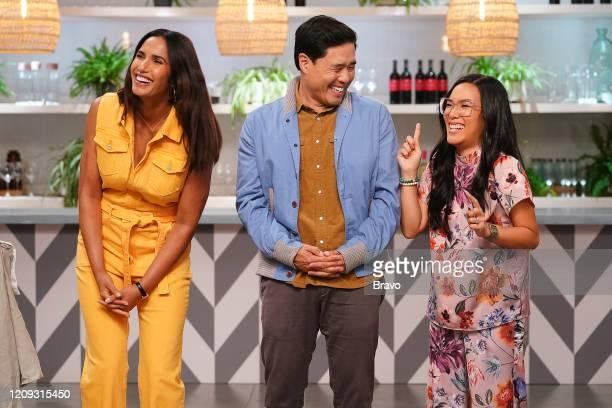 """Strokes of Genius"""" Episode 1703 -- Pictured: Padma Lakshmi, Randall Park, Ali Wong --"""