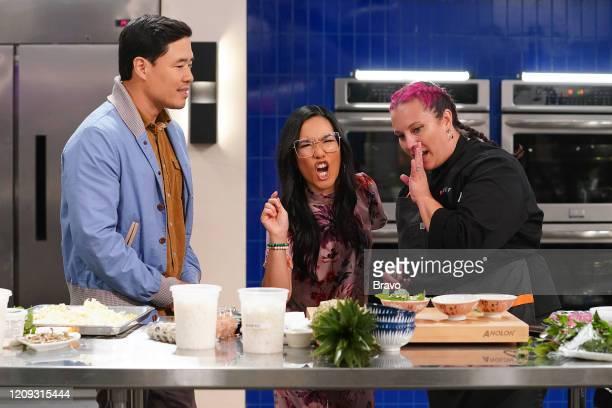 """Strokes of Genius"""" Episode 1703 -- Pictured: Randall Park, Ali Wong, Karen Akunowicz --"""