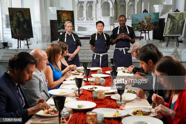 """Strokes of Genius"""" Episode 1703 -- Pictured: Tom Colicchio, Gail Simmons, Stehpanie Cmar, Melissa King, Gregory Gourdet, Ludo Lefebvre --"""