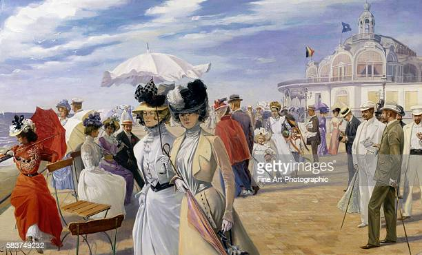 A Stroll at the Seaside Ostend by Carl Hermann Kuechler