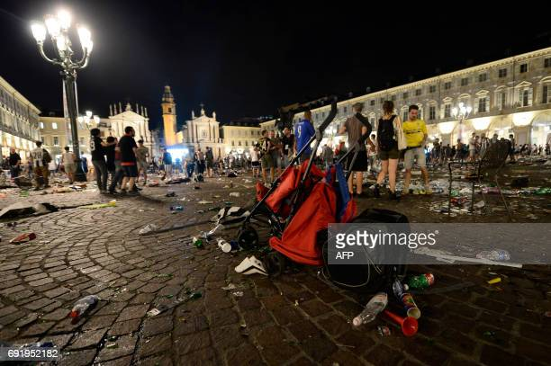 A stroller is abandoned at Piazza San Carlo after a panic movement in the fanzone where thousands of Juventus fans were watching the UEFA Champions...