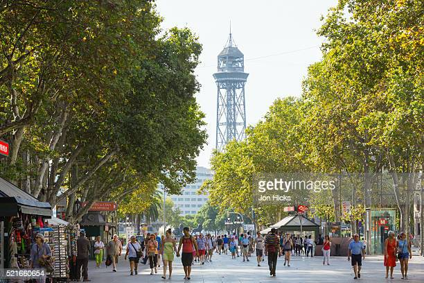 strollers on la rambla, barcelona. - the ramblas stock pictures, royalty-free photos & images