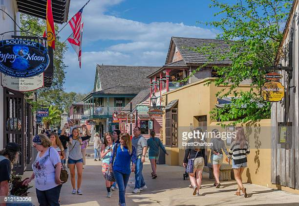strolling the streets - st. augustine florida stock photos and pictures