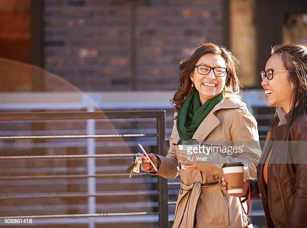 Strolling through the city with her bestie