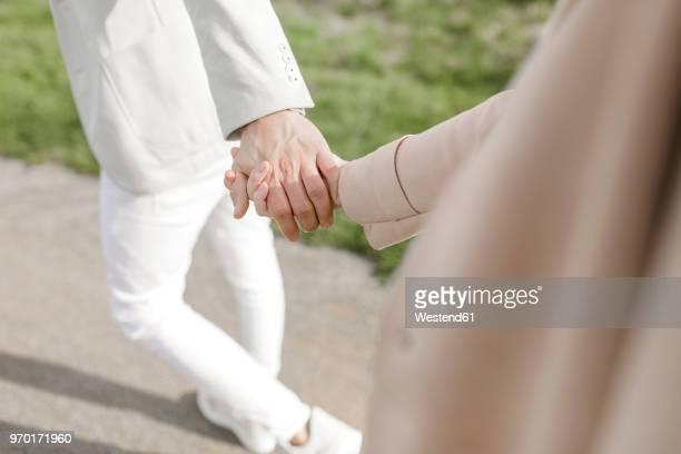 strolling young copule holding hands, partial view - anführen stock-fotos und bilder
