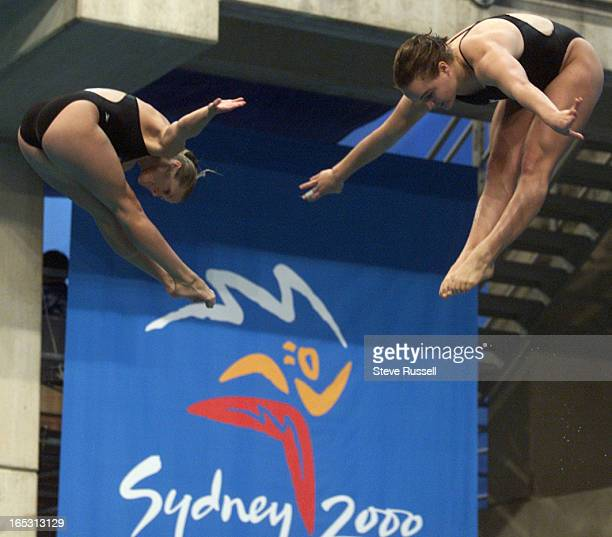 STROLYR103dive9/23/2000Canada's Eryn Bulmer left and Blythe Hartley perform during the synchronized dive competition at the 2000 Summer Olympic Games...