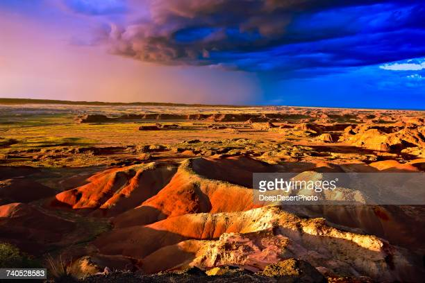 Strom approaching Painted Desert, Petrified Forest National Park, Arizona, America, USA