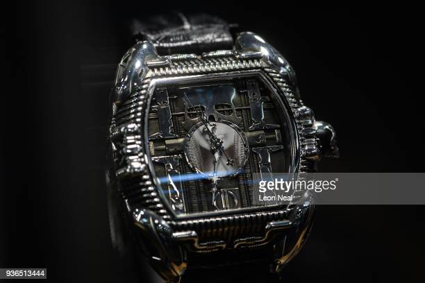 Strom watch inspired by the work of the artist H R Giger is seen at the BaselWorld watch fair on March 22 2018 in Basel Switzerland The annual watch...