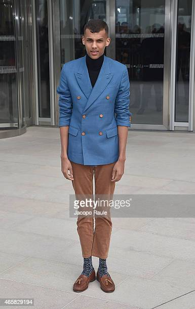 Stromae departs the Louis Vuitton show as part of Paris Fashion Week Fall Winter 2015/2016 on March 11 2015 in Paris France