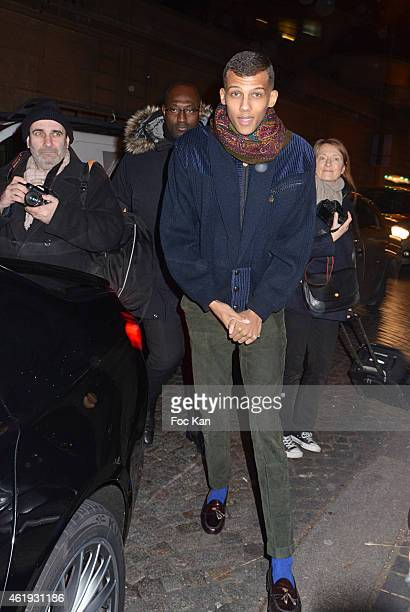 Stromae seen outside the Valentino Menswear Fall/Winter 20152016 show as part of Paris Fashion Week on January 21 2015 in Paris France