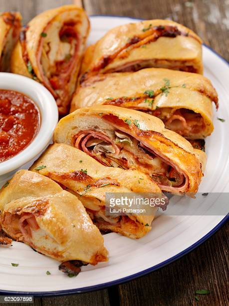 Stromboli with Pepperoni, Salami, Mushrooms and Peppers