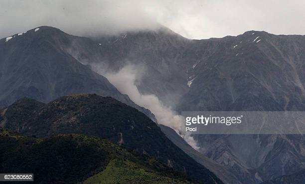 A strong aftershock brings a huge slip tumbling down a Valley in the Kaikoura Range on November 14 2016 in New Zealand The 75 magnitude earthquake...