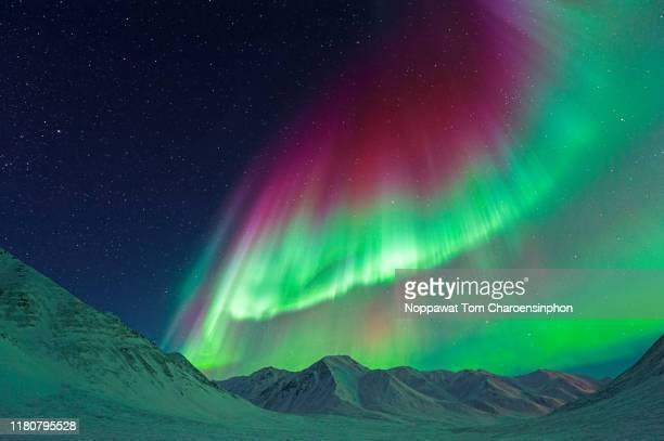 strong aurora borealis - alaska, usa - paisajes de alaska fotografías e imágenes de stock