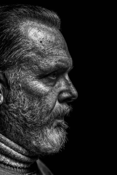 Strong B&W portrait of a rugged looking middle-aged man