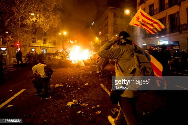 Strong confrontations between Catalan independentist militants and the police during the day of general strike convened in Catalonia in response to...