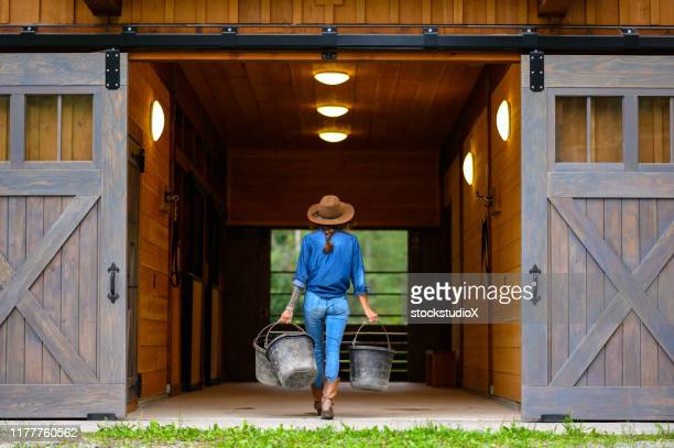 strong female farmer working on her ranch - american culture stock pictures, royalty-free photos & images