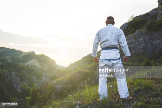 strong fighter in nature looking sunset - kung fu yoga stock pictures, royalty-free photos & images