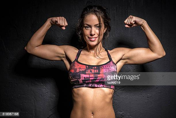 strong girl - body building stock pictures, royalty-free photos & images