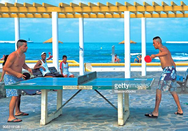 strong guys playing ping pong on the promenade. - free of charge stock photos and pictures