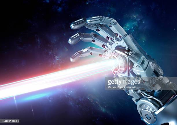 strong laser beams projecting out of the palm - war and conflict stock pictures, royalty-free photos & images