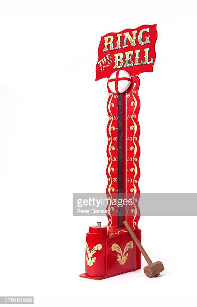 Strong man bell and hammer on white background