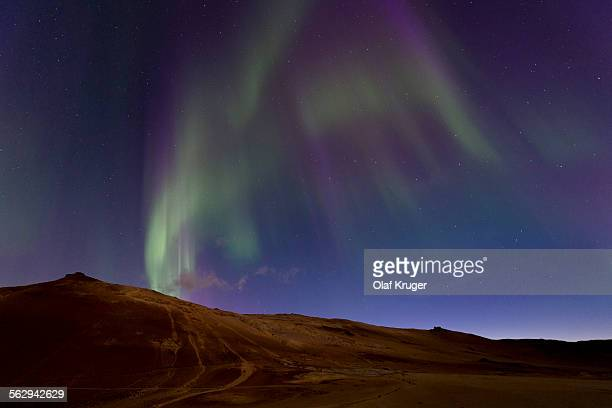 Strong northern lights, Hverarond high temperature or geothermal area, Namafjall mountains, Myvatn area, Northeastern Region, Iceland