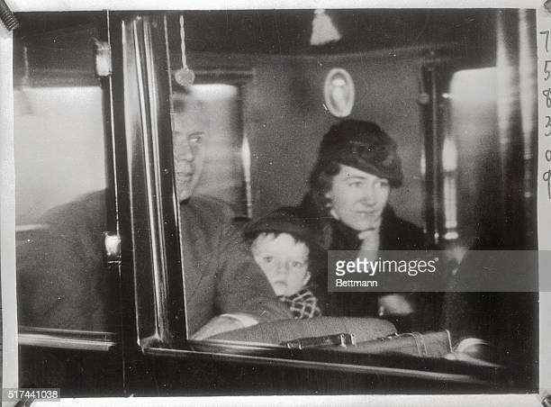 Strong police force and a numerous force of reporters and photographers greeted Colonel and Mrs. Charles A. Lindbergh and their three year old son...