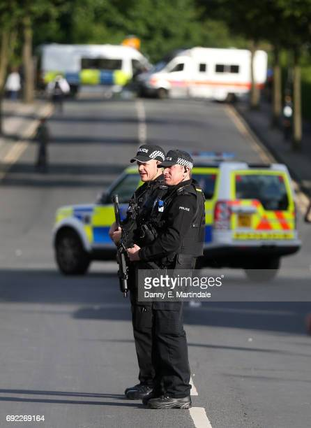 A strong police present is seen outside the Ariana Grande Benefit gig on June 4 2017 in Manchester England