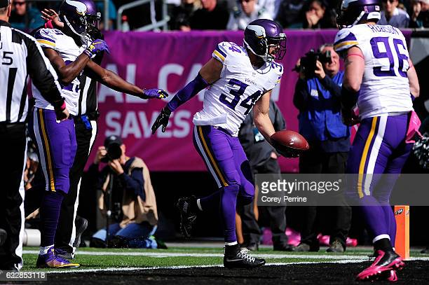 Strong safety Andrew Sendejo of the Minnesota Vikings celebrates an interception off quarterback Carson Wentz of the Philadelphia Eagles not shown in...