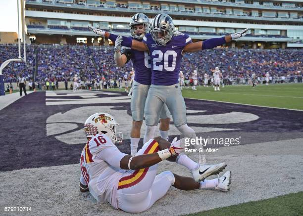 Strong safety Denzel Goolsby of the Kansas State Wildcats reacts after braking up a pass in the end zone against wide receiver Marchie Murdock of the...
