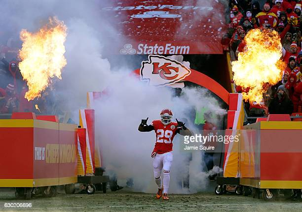 Strong safety Eric Berry of the Kansas City Chiefs is introduced prior to the game against the Tennessee Titans at Arrowhead Stadium on December 18...