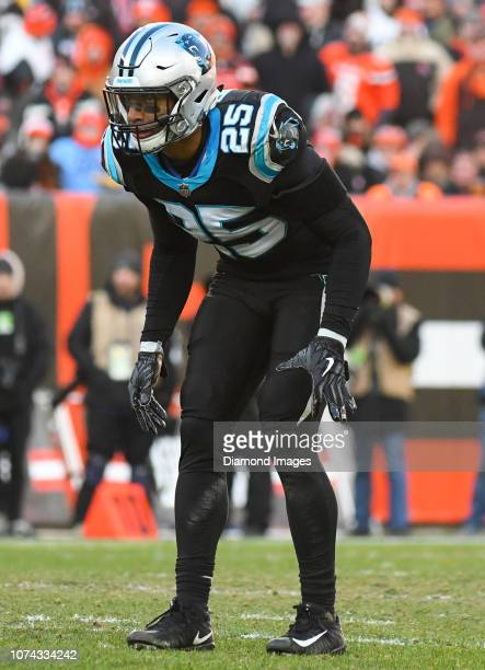 Strong safety Eric Reid of the Carolina Panthers awaits the snap in the third quarter of a game against the Cleveland Browns on December 9 2018 at...