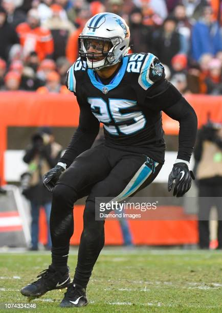 Strong safety Eric Reid of the Carolina Panthers drops into pass coverage in the third quarter of a game against the Cleveland Browns on December 9...