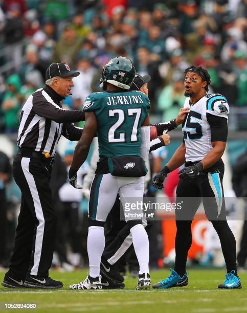 Strong safety Eric Reid of the Carolina Panthers gets in the face of strong safety Malcolm Jenkins of the Philadelphia Eagles prior to the start of...
