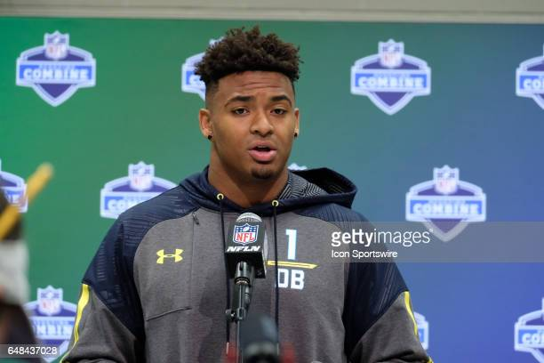 LSU strong safety Jamal Adams answers questions from members of the media during the NFL Scouting Combine on March 5 2017 at Lucas Oil Stadium in...