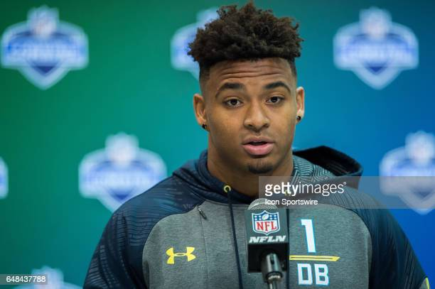 LSU strong safety Jamal Adams answers questions from the media during the NFL Scouting Combine on March 5 2017 at Lucas Oil Stadium in Indianapolis IN