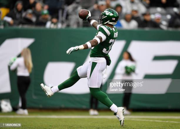 Strong safety Jamal Adams of the New York Jets reacts after a sack during the first half of the game against the Oakland Raiders at MetLife Stadium...
