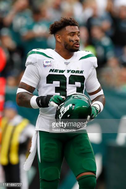 Strong Safety Jamal Adams of the New York Jets stands on the field during the first half against the Philadelphia Eagles at Lincoln Financial Field...