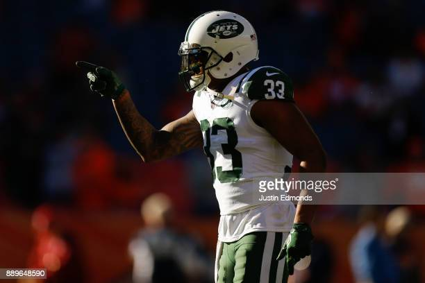 Strong safety Jamal Adams of the New York Jets warms up before a game against the Denver Broncos at Sports Authority Field at Mile High on December...