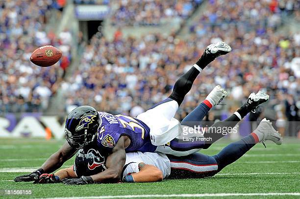 Strong safety James Ihedigbo of the Baltimore Ravens breaks up a pass intended for tight end Owen Daniels of the Houston Texans at MT Bank Stadium on...