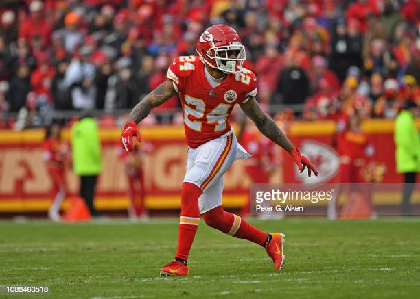 Strong safety Jordan Lucas of the Kansas City Chiefs drops back in coverage during the first half against the Oakland Raiders at Arrowhead Stadium on...